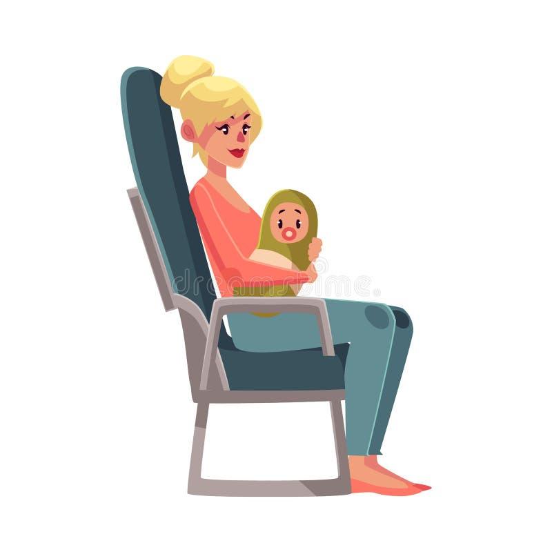 Młoda kobieta w samolotowym siedzeniu, gospodarki klasa, trzyma małego dziecka ilustracja wektor
