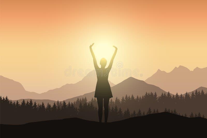 Młoda kobieta w sukni z nastroszonymi rękami w góra krajobrazu dowcipie ilustracja wektor