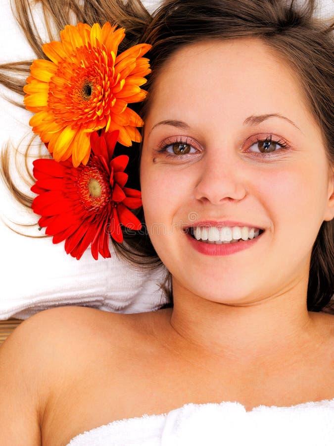 Młoda kobieta w zdroju studiu fotografia royalty free