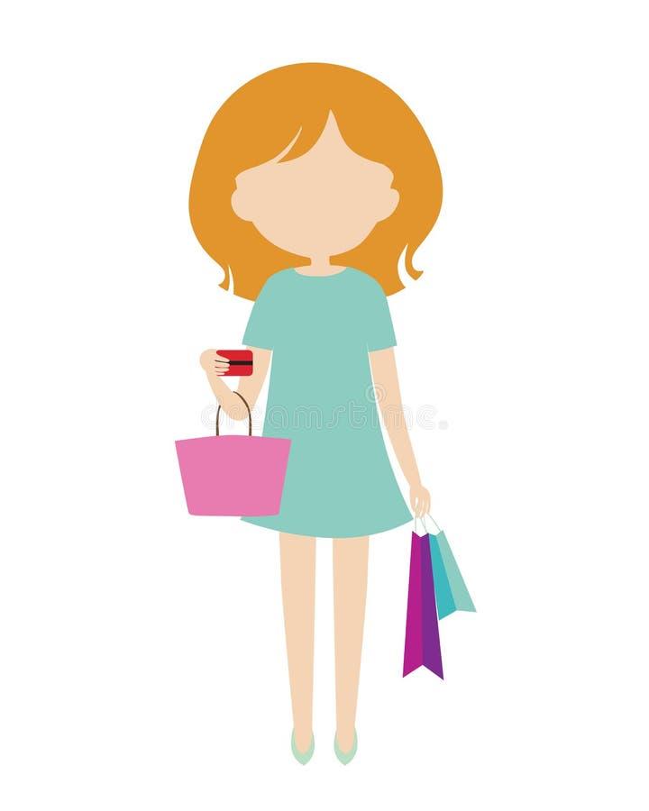 Młoda kobieta w zieleni sukni stoi cr i trzyma torba na zakupy i ilustracji