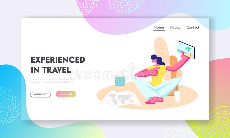 Młoda Kobieta Wskazuje pastylka z obrazkami od Podróżować Pamięć, fotografia, wycieczki trasy wybór dla wakacje, gadżety website ilustracji