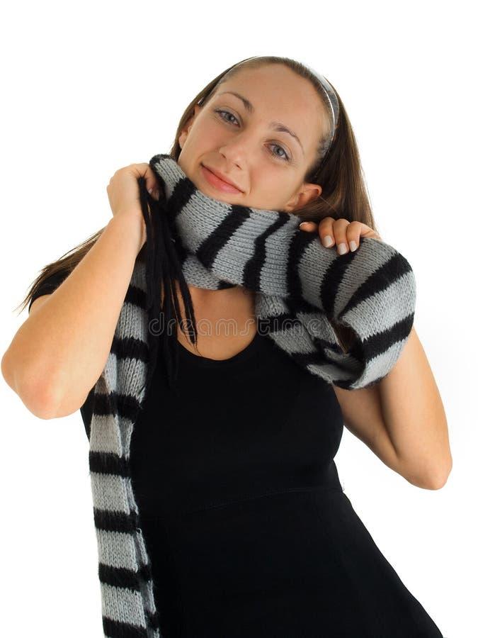 Młoda kobieta z chustą fotografia stock