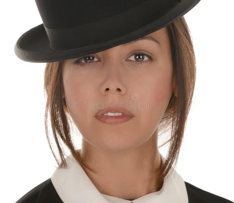 Młoda kobieta z dęciaka kapeluszem obrazy royalty free