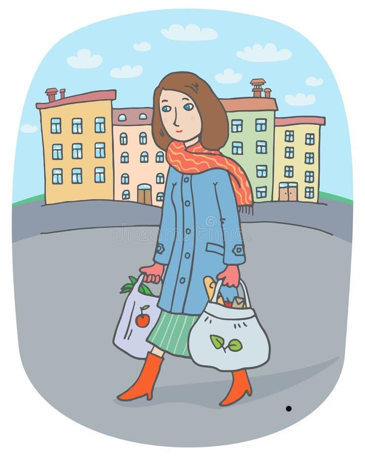 Młoda kobieta z duży ciężar torbami iść od miasto rynku stwarzać ognisko domowe ilustracja wektor