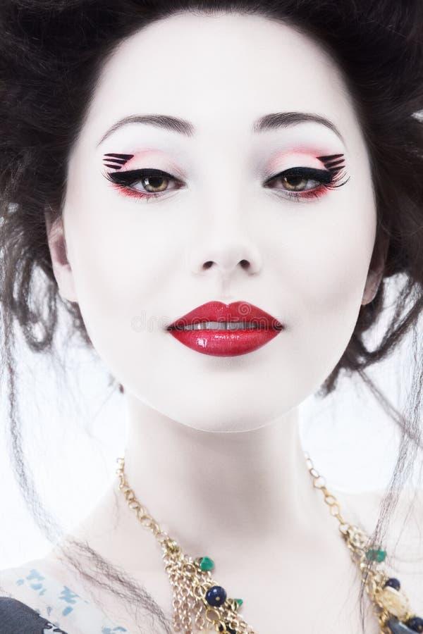 Młoda kobieta z klasycznym Japan stylu makeup fotografia royalty free