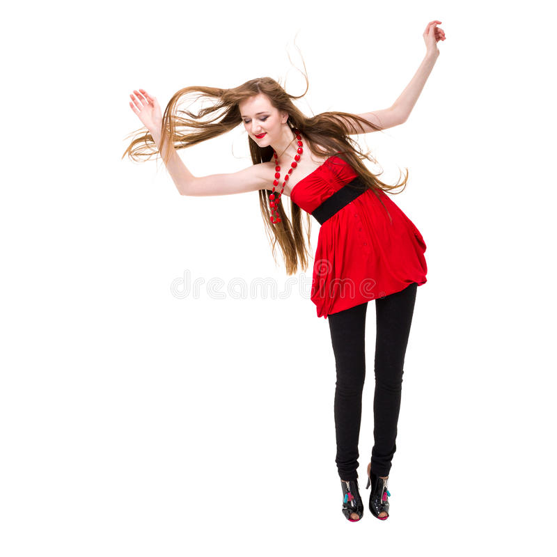 Młoda kobieta z latającym włosianym doskakiwaniem zdjęcia royalty free