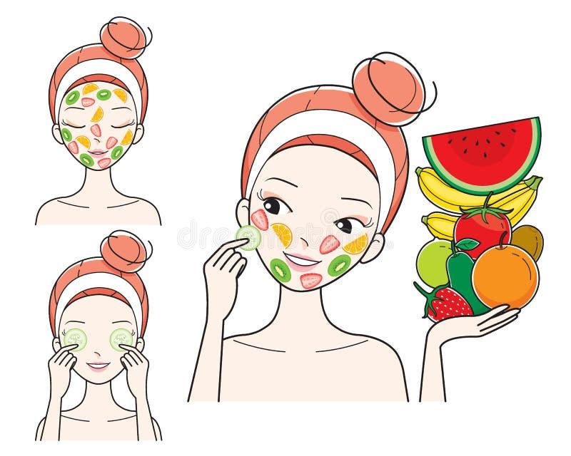 Młoda Kobieta Z owoc Twarzową maską Na Jej twarzy ilustracji
