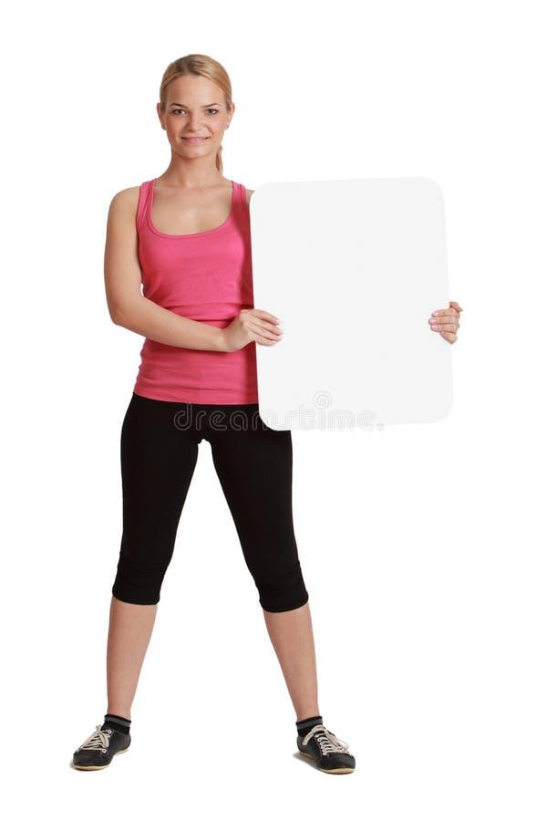 Młoda Kobieta z Pustą deską zdjęcia stock