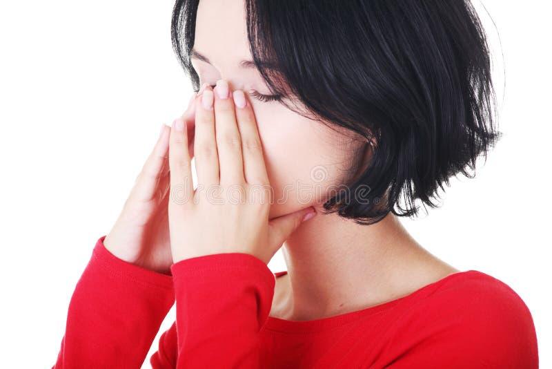 Młoda kobieta z sinus naciska bólem zdjęcia stock