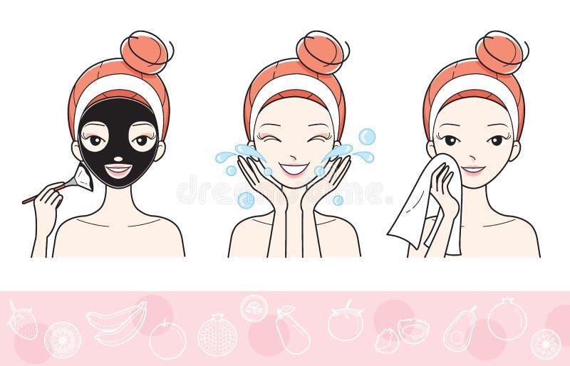 Młoda Kobieta Z Twarzowym Maskowym krokiem ilustracji