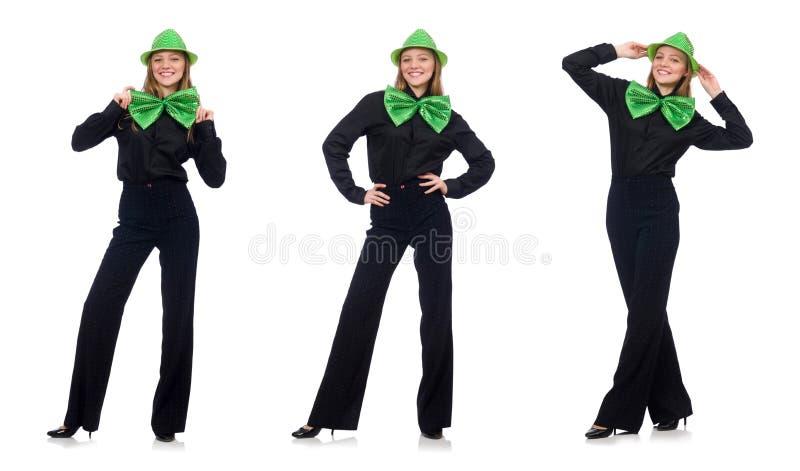 Młoda kobieta z zielonym gigantycznym krawatem zdjęcia stock