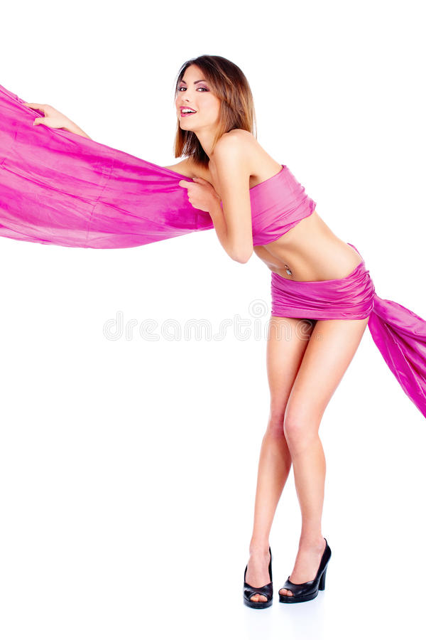 Kobieta w różowym materiale zdjęcie royalty free