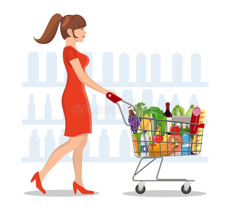 Młoda kobieta zakupy dla sklepów spożywczych ilustracji