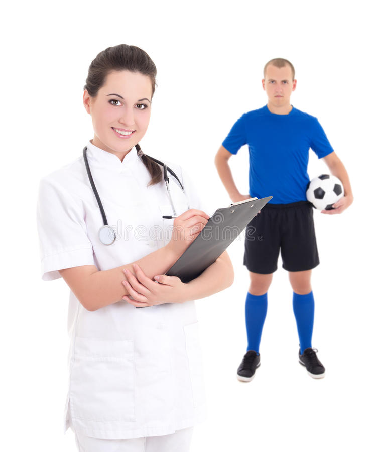 Młoda kobiety lekarka, gracz piłki nożnej w błękicie na białym backgroun i fotografia stock