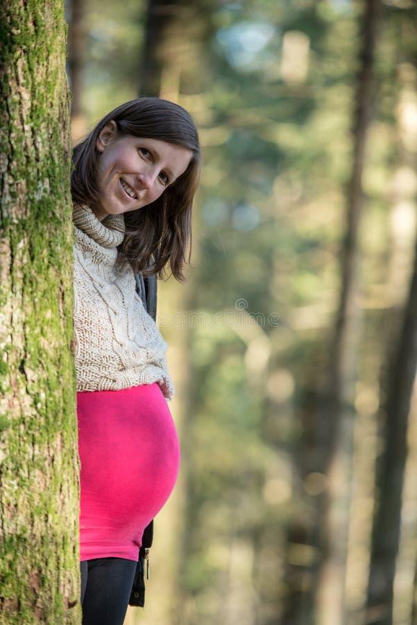 Młoda kobiety w ciąży pozycja za drzewem zdjęcie royalty free