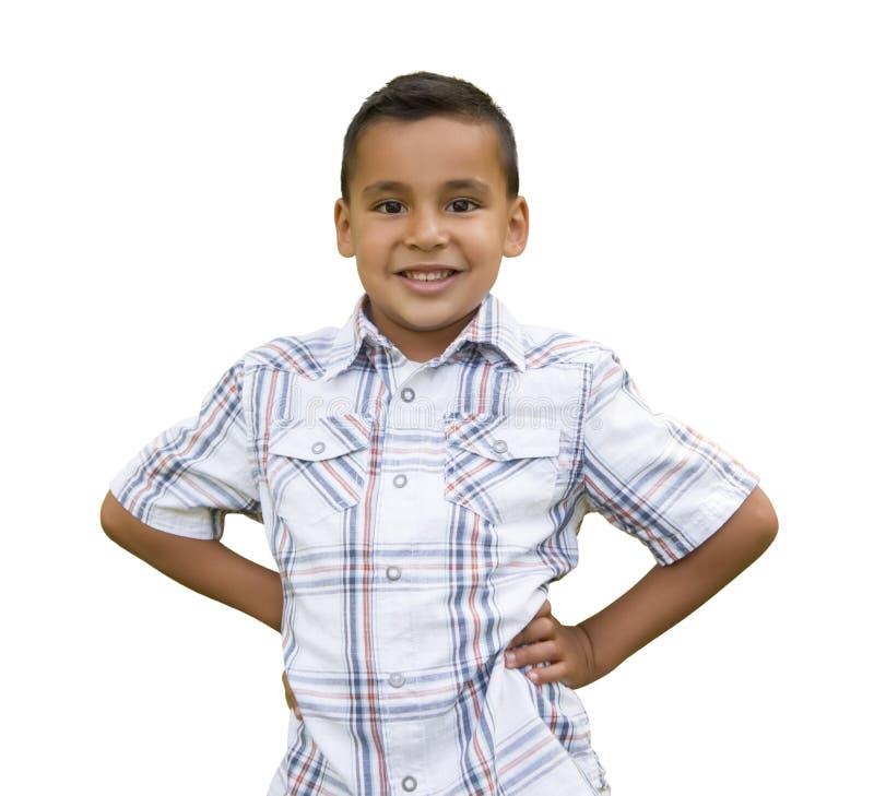 Młoda Latynoska chłopiec na bielu fotografia royalty free