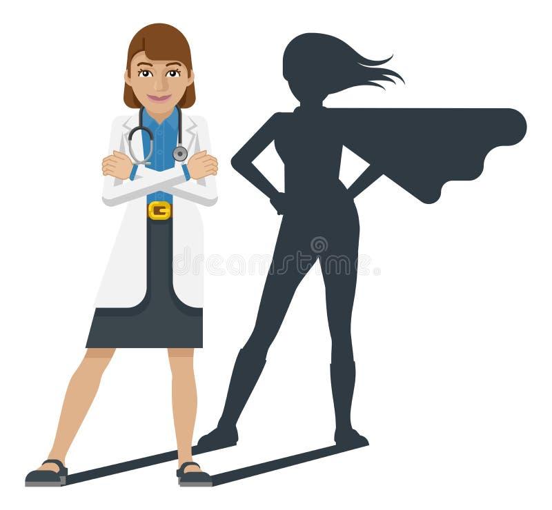 Młoda lekarza medycynego Super bohatera kreskówki maskotka royalty ilustracja