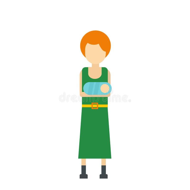 Młoda mama trzyma nowonarodzoną dziecko ikonę royalty ilustracja