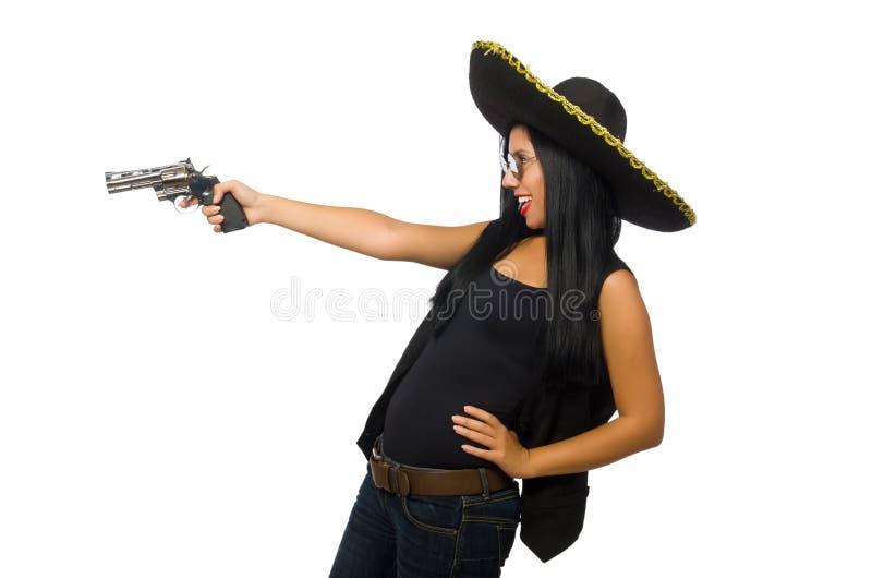 Młoda meksykańska kobieta z pistoletem na bielu obrazy stock