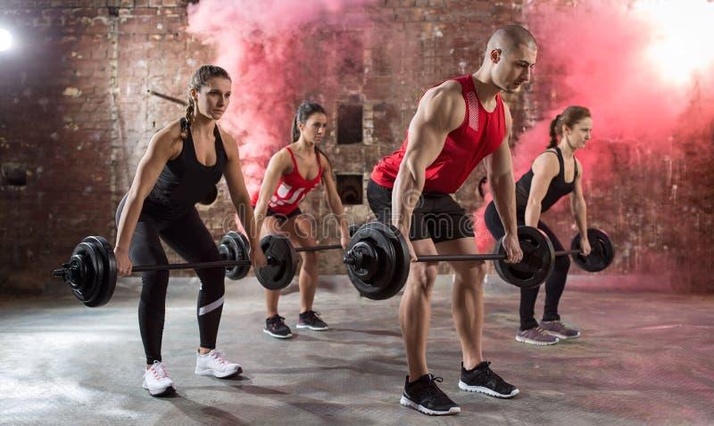 Młoda mięśniowa bodybuilders treningu półpostać obraz royalty free