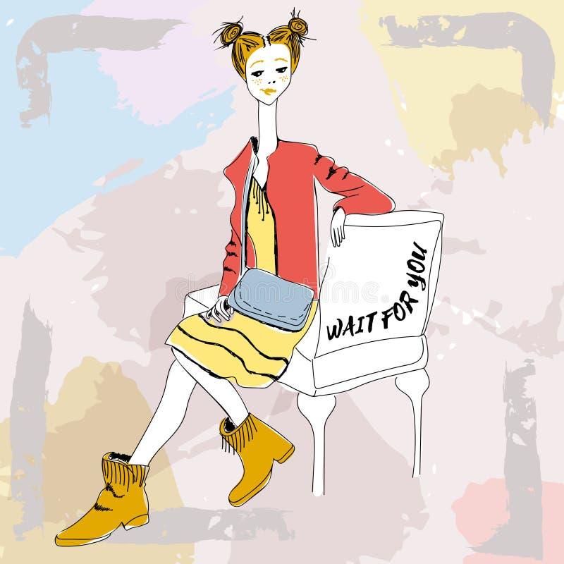 Młoda miedzianowłosa dziewczyna z małą torbą w boho stylu Dla koszulek drukuje, telefon skrzynka, plakaty, torba druk, filiżanka  ilustracja wektor