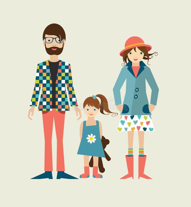 Młoda modniś rodzina z córką, mała dziewczynka ilustracja wektor