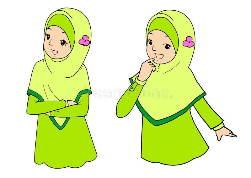 Młoda muzułmańska kobieta z wyrazami twarzy fotografia stock