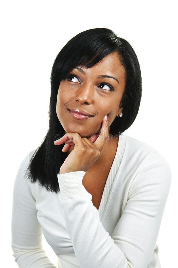 młoda myśląca kobieta zdjęcie stock