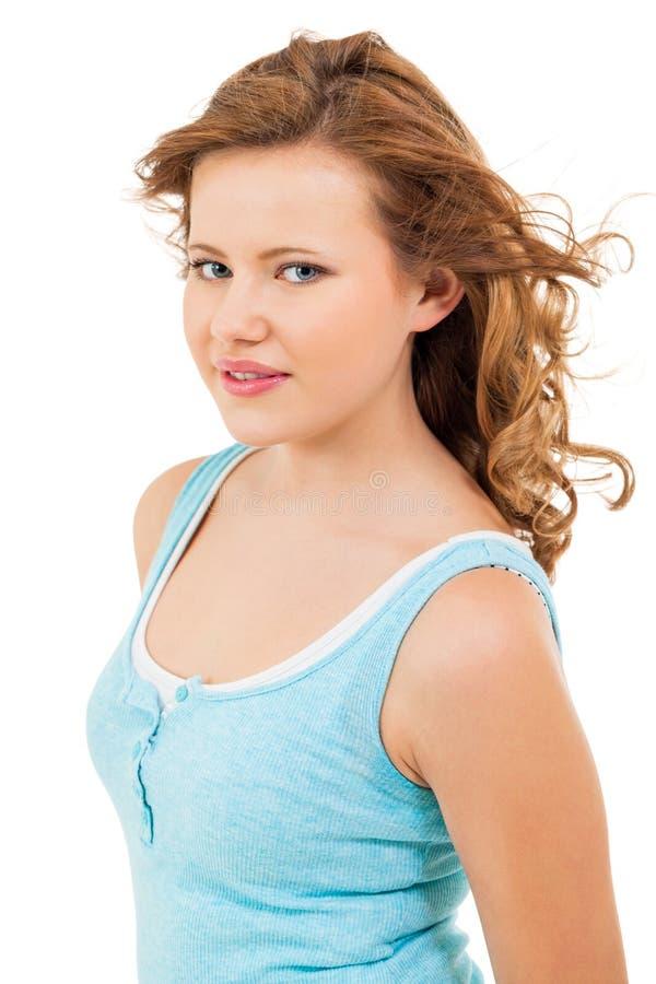 Młoda nastolatek dziewczyna ono uśmiecha się mieć zabawa portret zdjęcie stock
