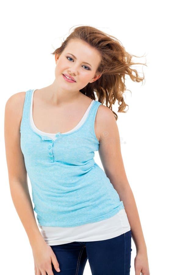 Młoda nastolatek dziewczyna ono uśmiecha się mieć zabawa portret obrazy stock