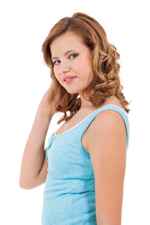 Młoda nastolatek dziewczyna ono uśmiecha się mieć zabawa portret zdjęcie royalty free