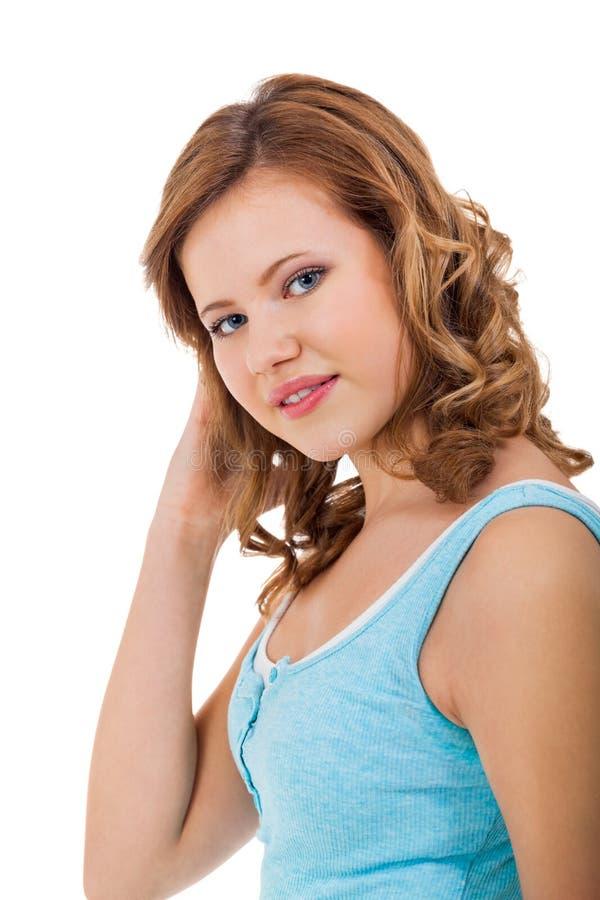 Młoda nastolatek dziewczyna ono uśmiecha się mieć zabawa portret obraz royalty free