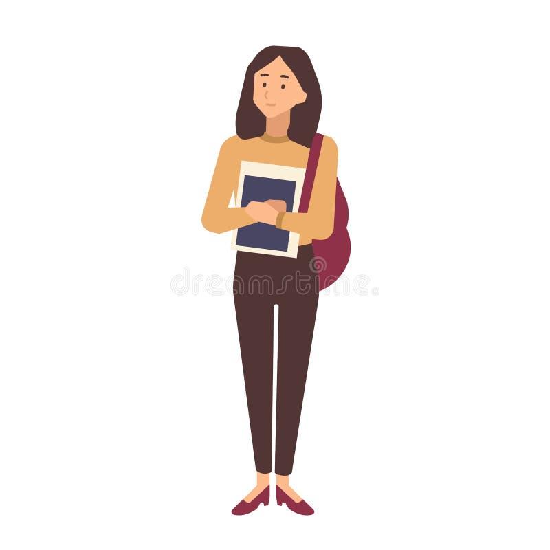 Młoda nastoletnia szkolna dziewczyna trzyma podręczniki ubierał w przypadkowych ubraniach Portret uczeń, uniwersytet lub student  ilustracja wektor