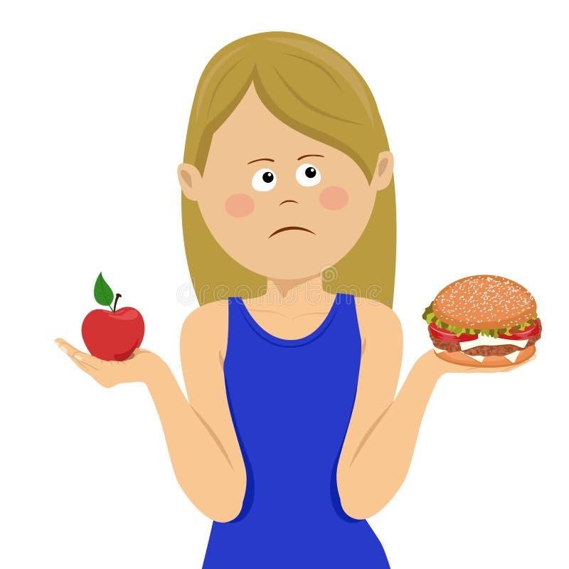 Młoda nieszczęśliwa kobieta wybiera między szybkim żarciem i zdrową dietą ilustracja wektor