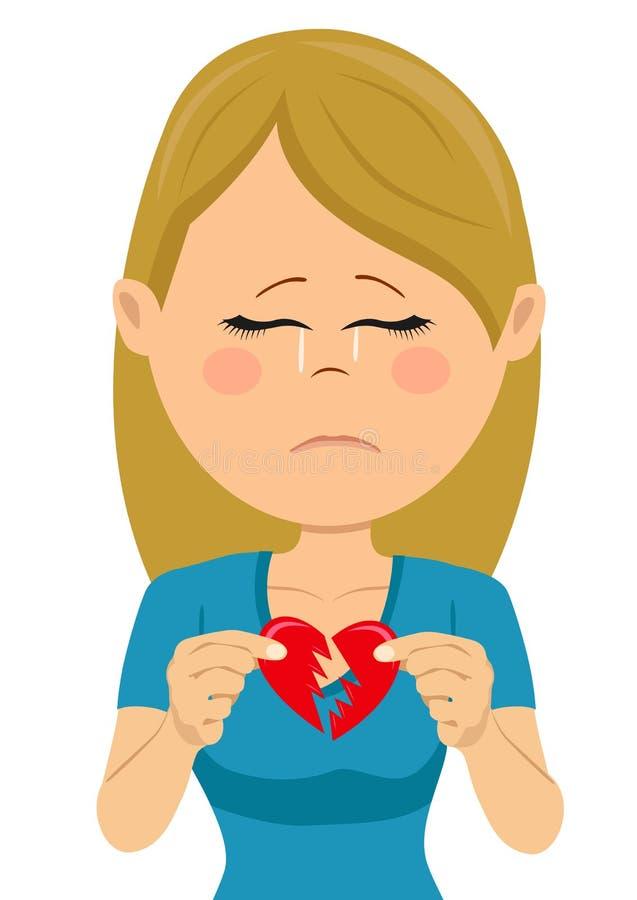 Młoda nieszczęśliwa smutna kobieta z złamane serce kartą ilustracji