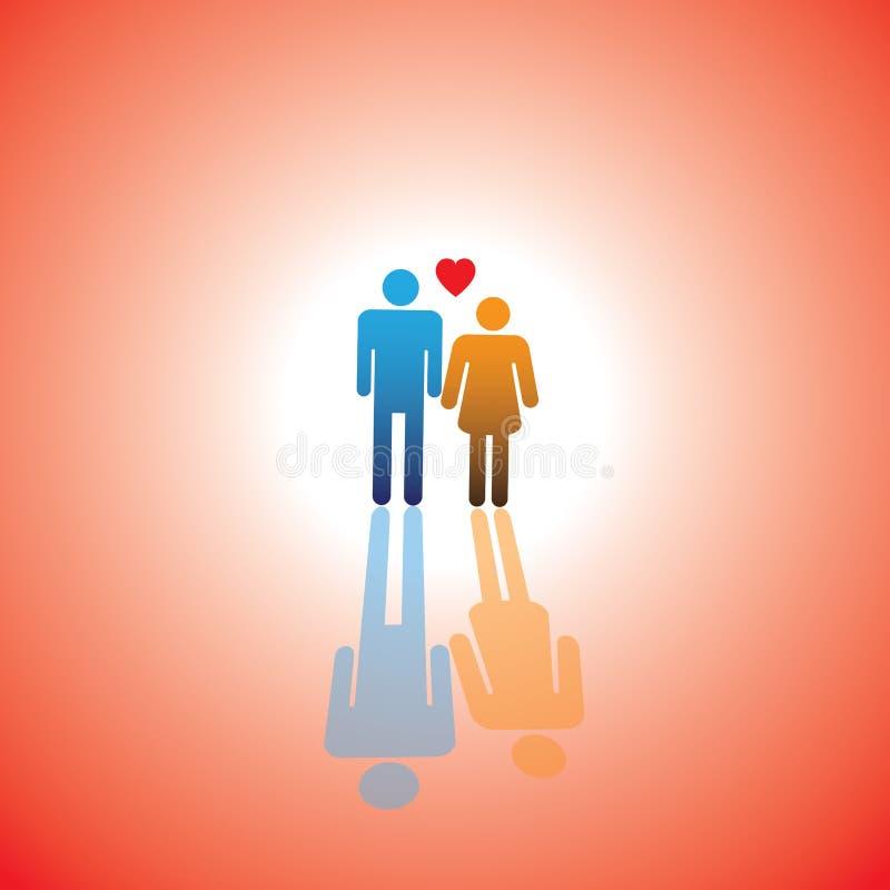 Młoda kochanek pary ikona z serce znakiem chłopiec & dziewczyna (symbol) ilustracji