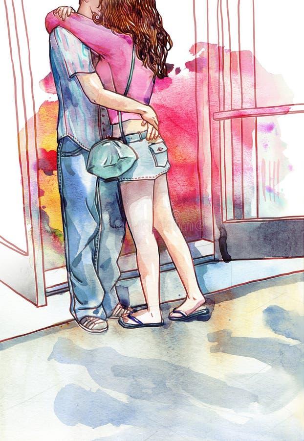 Potomstwo pary kochankowie całuje akwarelę i ściska royalty ilustracja