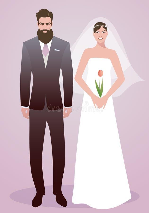 Młoda para poślubia nowożeńcy jest ubranym odziewa Elegancki brodaty fornal i piękna panna młoda z przesłoną trzyma tulipanu royalty ilustracja