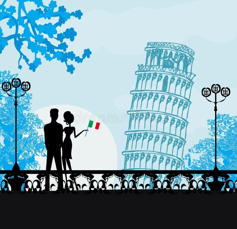Młoda para turyści w Pisa ilustracji