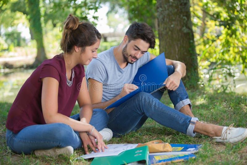 Młoda para uczy się w parku zdjęcia royalty free