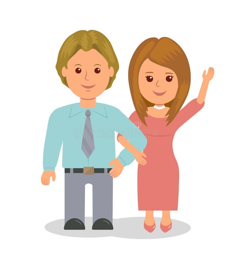 Młoda pary małżeńskiej pozycja w uścisku Dziewczyna machał jej rękę affably Wektorowi ludzie odizolowywający na białym tle royalty ilustracja
