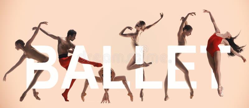 Młoda pełen wdzięku kobieta i męscy baletniczy tancerze, kreatywnie kolaż obrazy royalty free