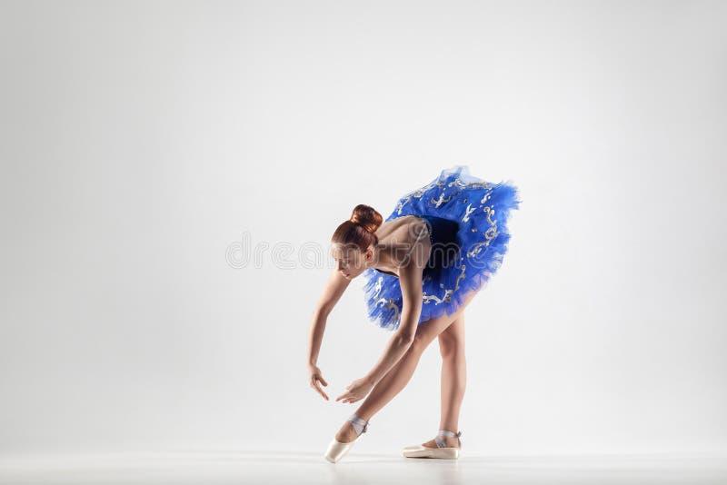 Młoda piękna balerina jest ubranym błękitnego d z babeczką zbierał włosy zdjęcia stock