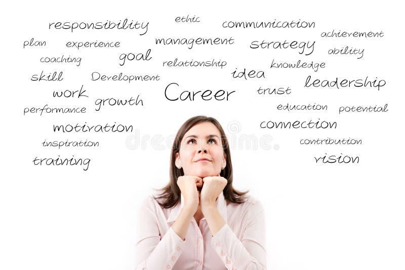 Młoda piękna biznesowa kobieta marzy jej kariery pojęcie. obraz stock