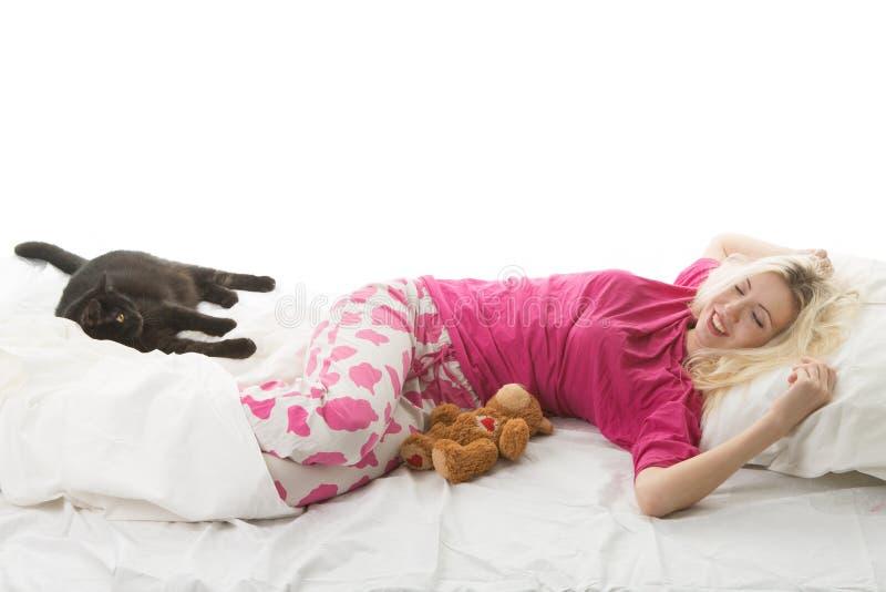Dziewczyna budzi się up zdjęcia stock