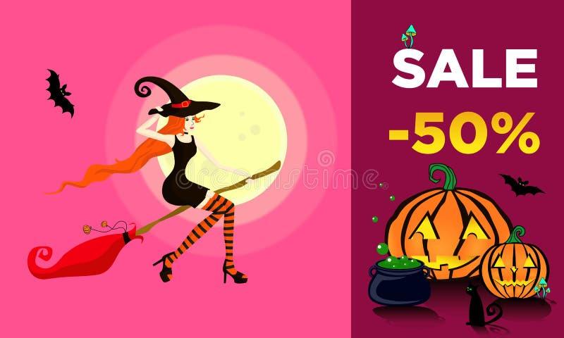 Młoda piękna dziewczyna ubierająca jako czarownica lata na miotle sprzedawać 50% daleko ilustracji