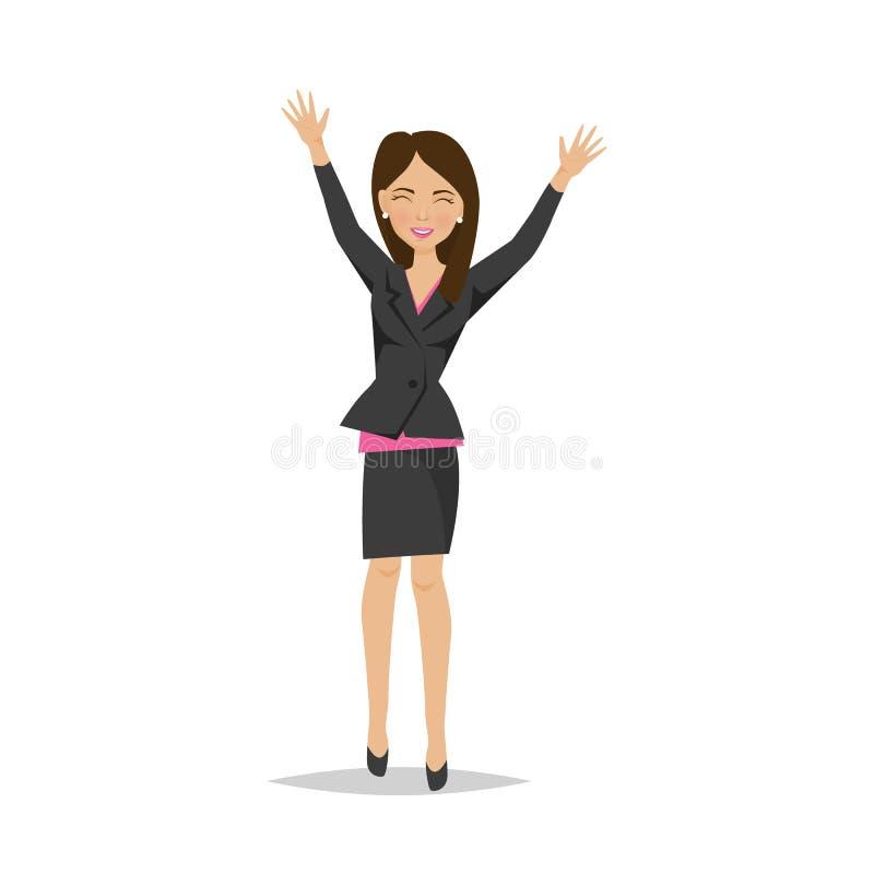 Młoda piękna dziewczyna, urzędnik, kobieta szczęśliwa z sukcesem, przyrost royalty ilustracja