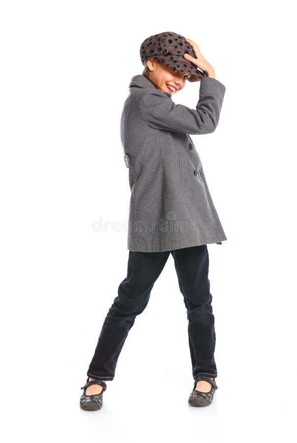 Młoda piękna dziewczyna w berecie i żakiecie fotografia royalty free