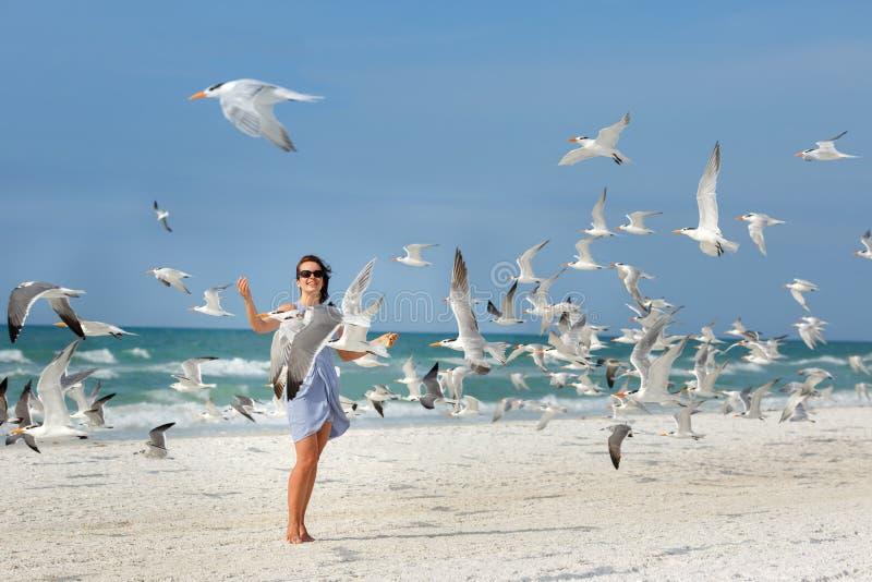 Młoda piękna kobieta ogląda seagulls latać obrazy royalty free
