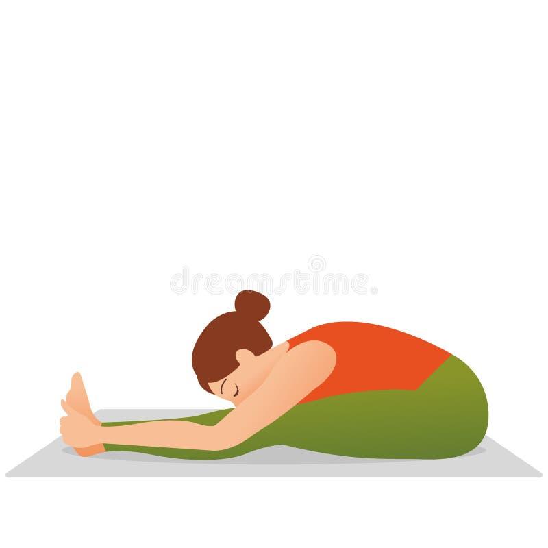Młoda piękna kobieta robi rozciągania ćwiczeniu na joga ilustracji